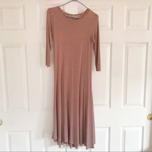 Super soft Rust stripe midi 3/4 sleeve flowy dress